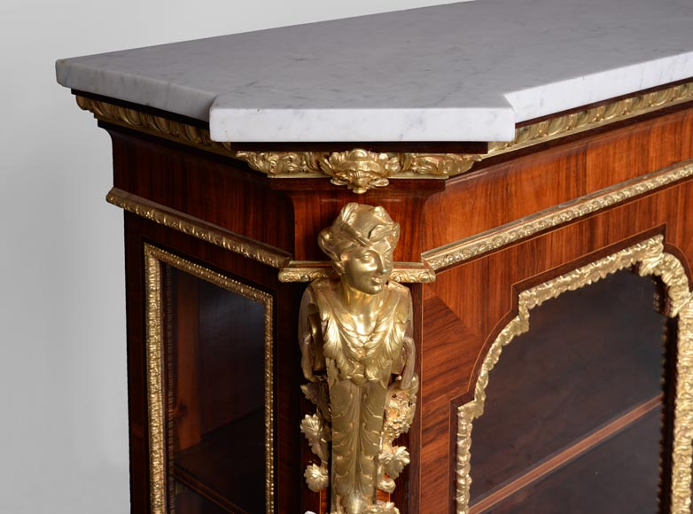 MONBRO (att. to) Pair of cabinets with  espagnolettes in gilt bronze-4