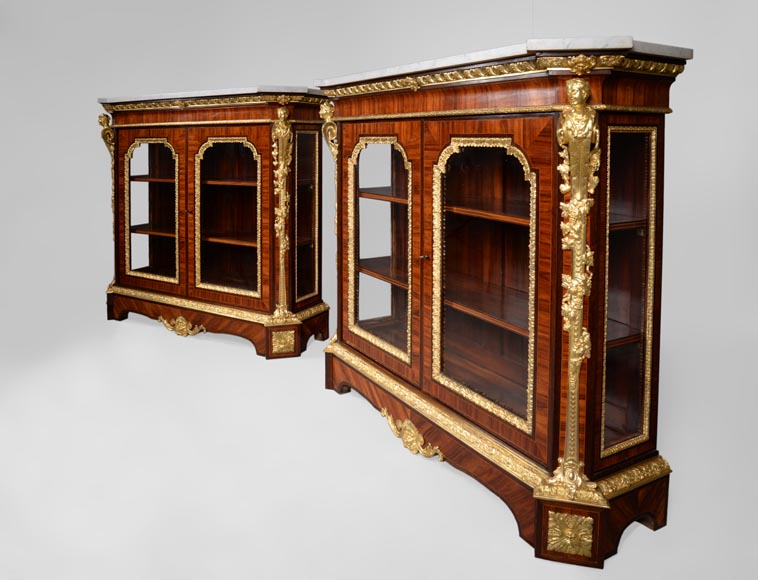 MONBRO (att. to) Pair of cabinets with  espagnolettes in gilt bronze-10