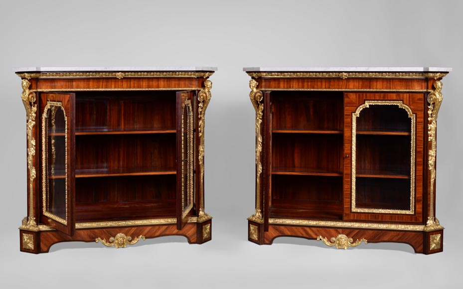 MONBRO (att. to) Pair of cabinets with  espagnolettes in gilt bronze-11