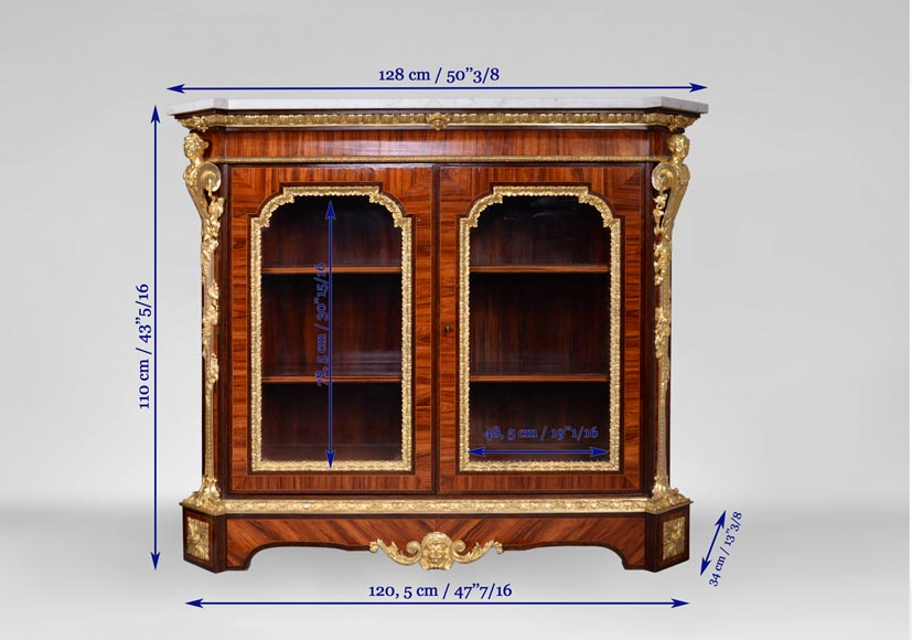 MONBRO (att. to) Pair of cabinets with  espagnolettes in gilt bronze-14