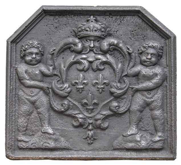 Antique fireback with French coat of arms and putti-0