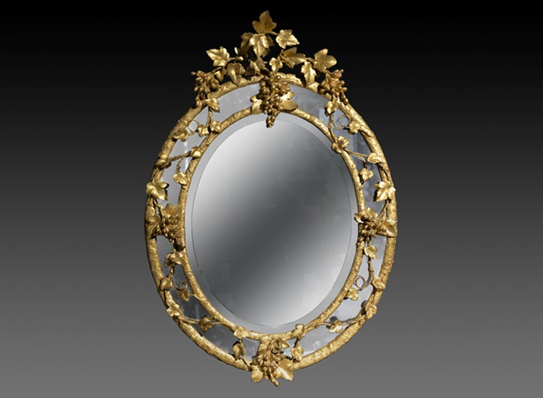 Very beautiful antique Napoleon III oval mirror decorated with bunches of grapes and grape leaves-0