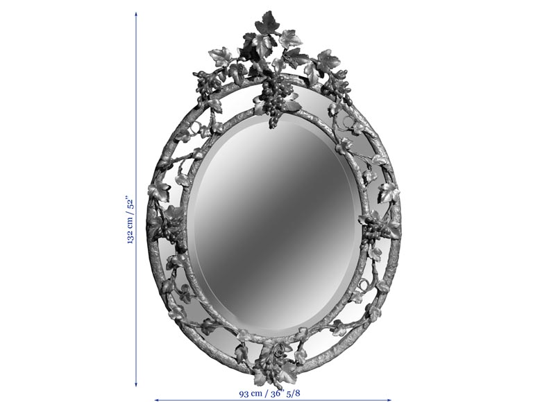 Very beautiful antique Napoleon III oval mirror decorated with bunches of grapes and grape leaves-4