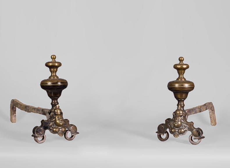 Antique pair of patinated bronze andirons, Louis XIV style-0
