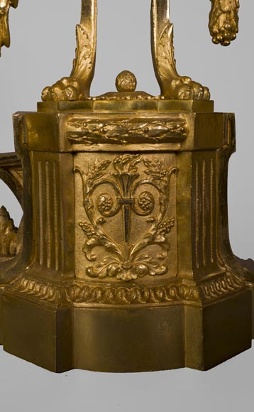 Antique Louis XVI style gilt bronze fire fender with urns on fire-4