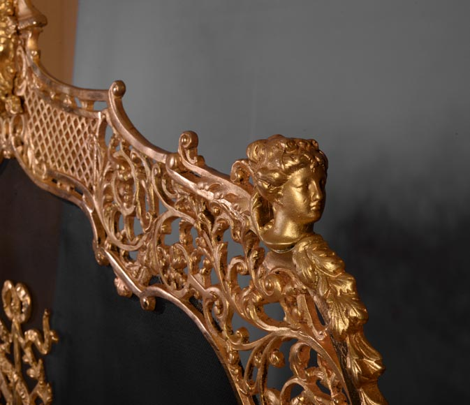 Antique large Napoleon III style firescreen in gilt bronze with head of satyr-5