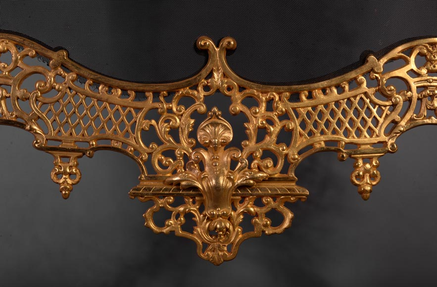 Antique large Napoleon III style firescreen in gilt bronze with head of satyr-7