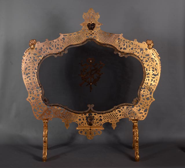 Antique large Napoleon III style firescreen in gilt bronze with head of satyr-10