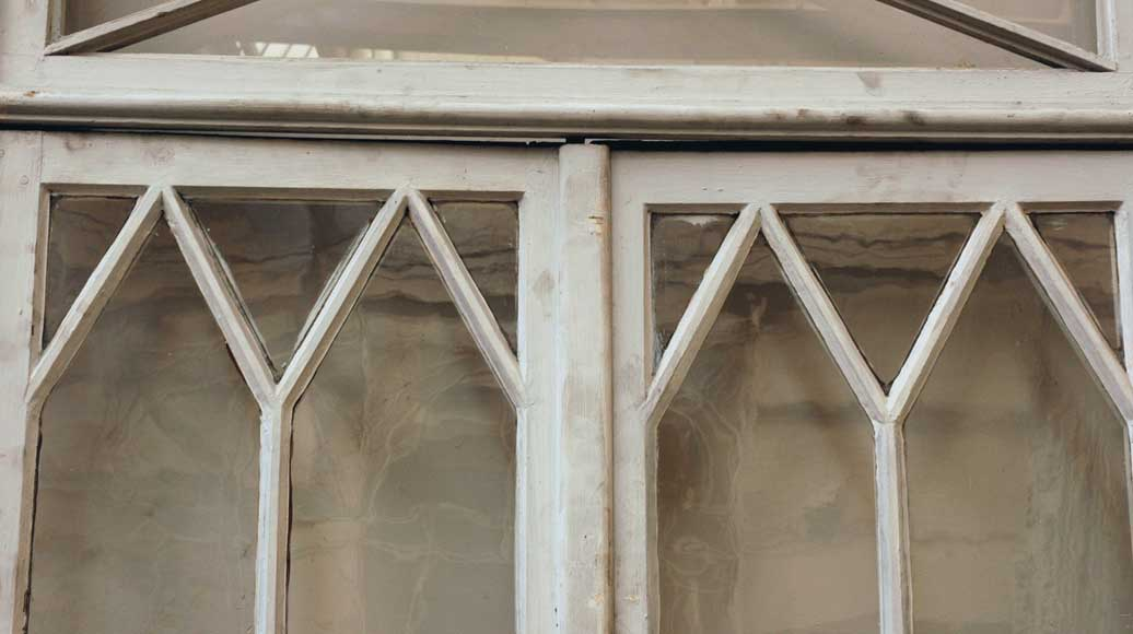 Restoration style wooden and glass double window -9