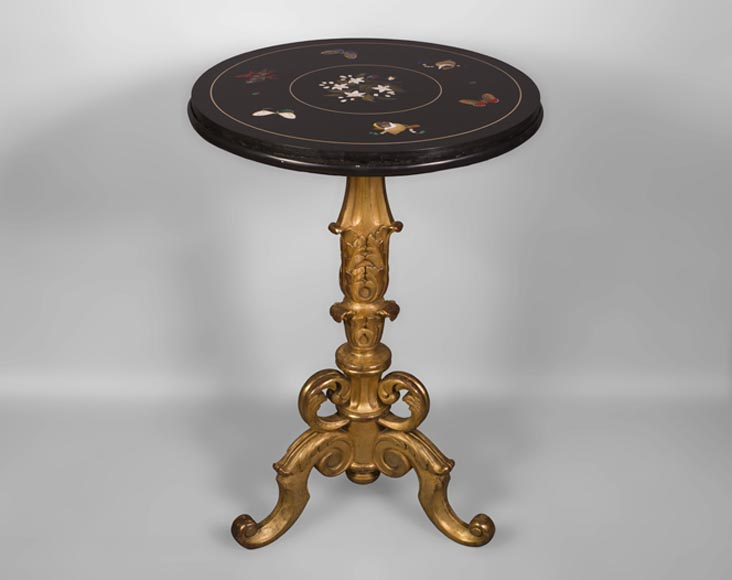 Rare pedestal table in pietra dura-0