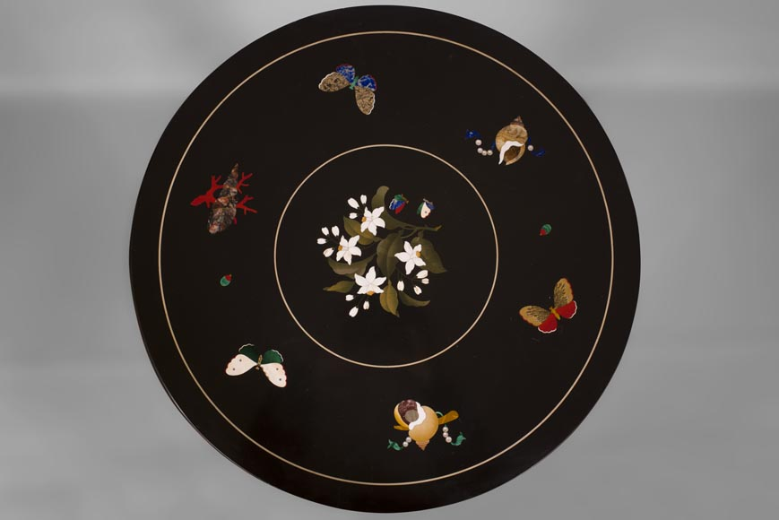 Rare pedestal table in pietra dura-1