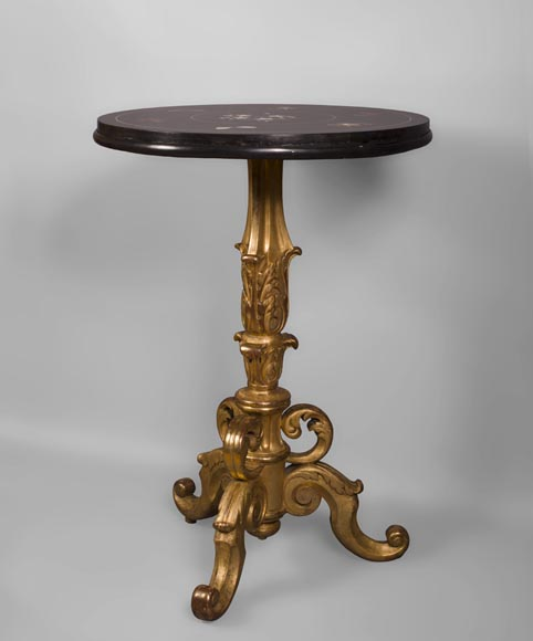 Rare pedestal table in pietra dura-9
