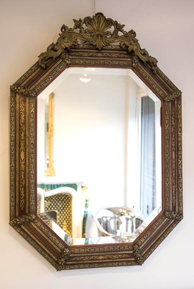 Beautiful Octagonal Napoleon 3 Mirror With Beveled Glass
