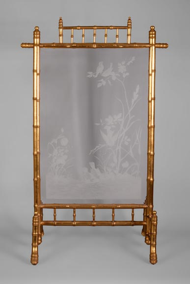 Rare antique Japanese style fire screen in gilt bronze in imitation of bamboo and engraved glass-0