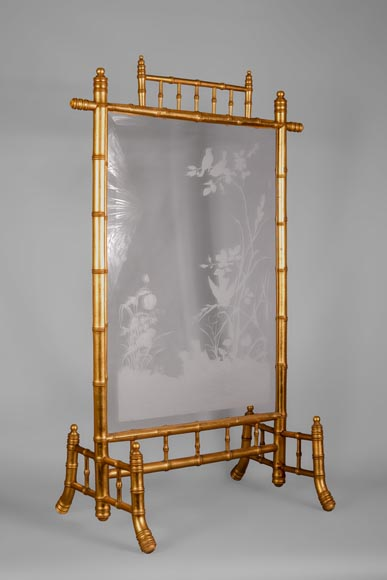 Rare antique Japanese style fire screen in gilt bronze in imitation of bamboo and engraved glass-1