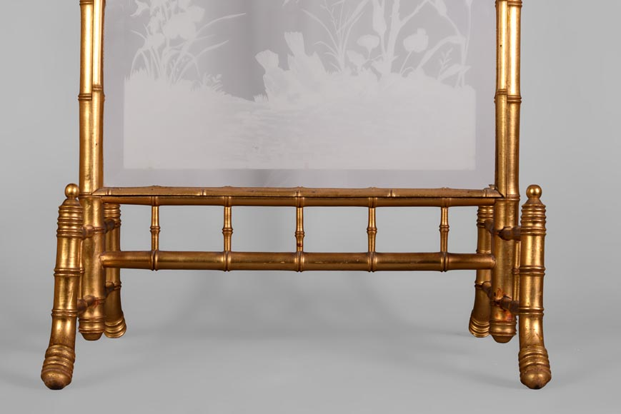 Rare antique Japanese style fire screen in gilt bronze in imitation of bamboo and engraved glass-4