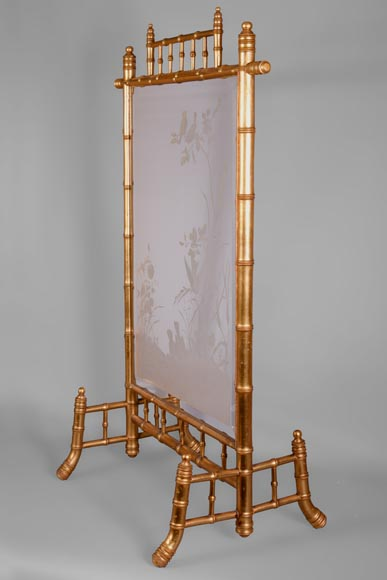 Rare antique Japanese style fire screen in gilt bronze in imitation of bamboo and engraved glass-6