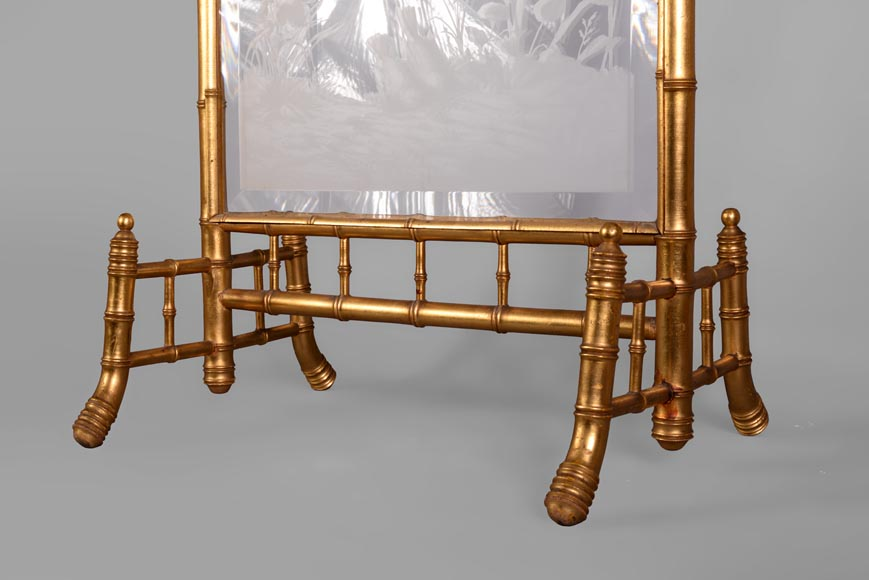 Rare antique Japanese style fire screen in gilt bronze in imitation of bamboo and engraved glass-7