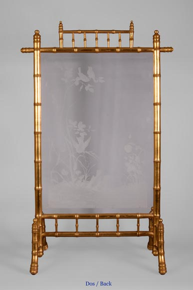 Rare antique Japanese style fire screen in gilt bronze in imitation of bamboo and engraved glass-8