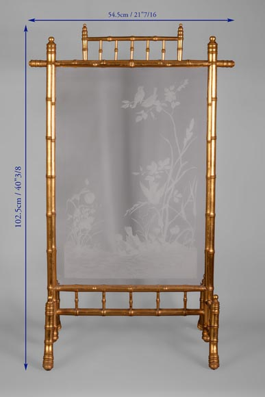 Rare antique Japanese style fire screen in gilt bronze in imitation of bamboo and engraved glass-10