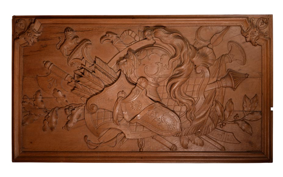 Antique carved oak wood panel decorated with trophies of arms, 19th century-0