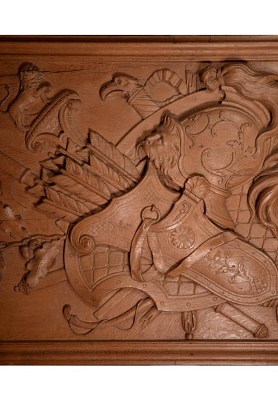 Antique carved oak wood panel decorated with trophies of arms, 19th century-1