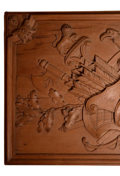 Antique carved oak wood panel decorated with trophies of arms, 19th century-3