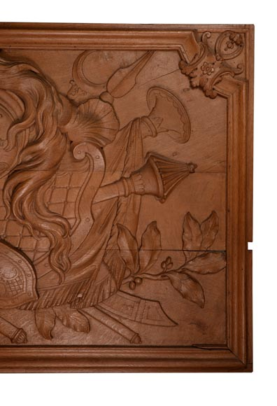 Antique carved oak wood panel decorated with trophies of arms, 19th century-4
