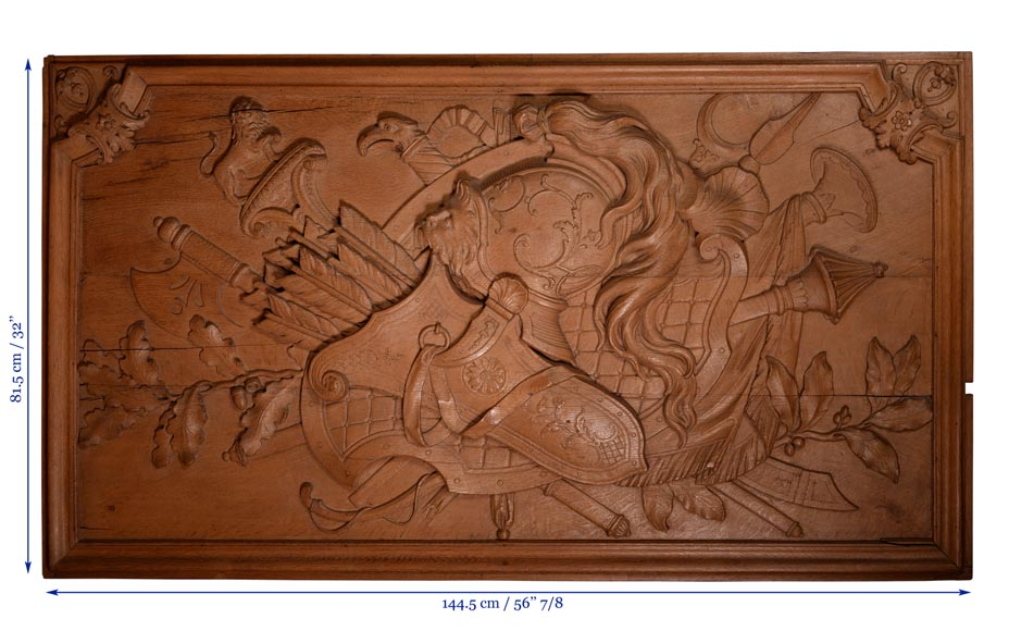 Antique carved oak wood panel decorated with trophies of arms, 19th century-7