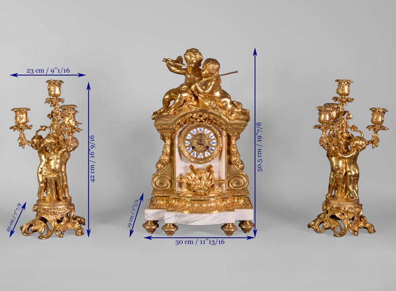 Maison DENIERE - Napoléon III style fireplace insert, in marble and gilded bronze, with children-10