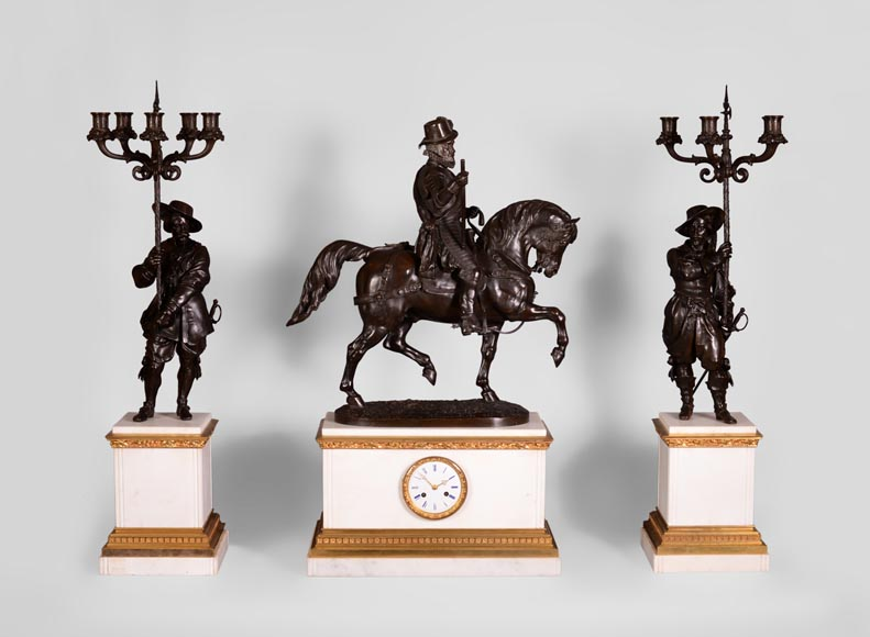 Alfred Émile O'Hara de Nieuwerkerke - Equestrian statue of William the Silent, Prince of Orange Nassau and two candelabras with halberdiers after Carlo Marochetti.-0