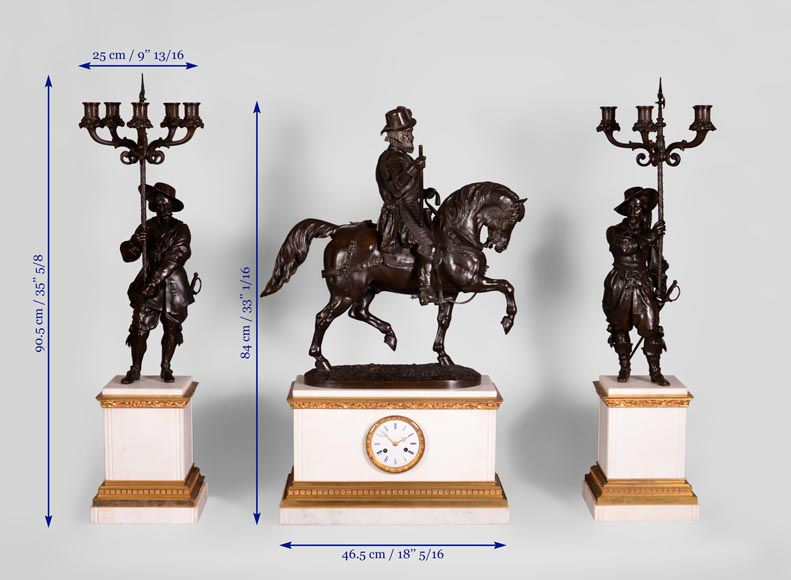 Alfred Émile O'Hara de Nieuwerkerke - Equestrian statue of William the Silent, Prince of Orange Nassau and two candelabras with halberdiers after Carlo Marochetti.-15