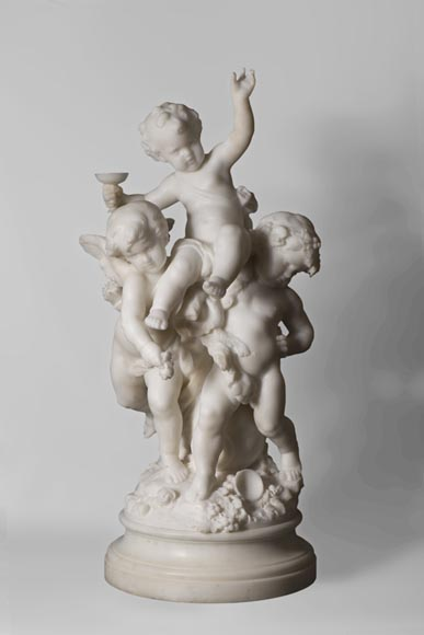 Mathurin MOREAU (1822-1912) - The triumph of Cupid and Bacchus, Statuary marble sculpture - Reference 10684