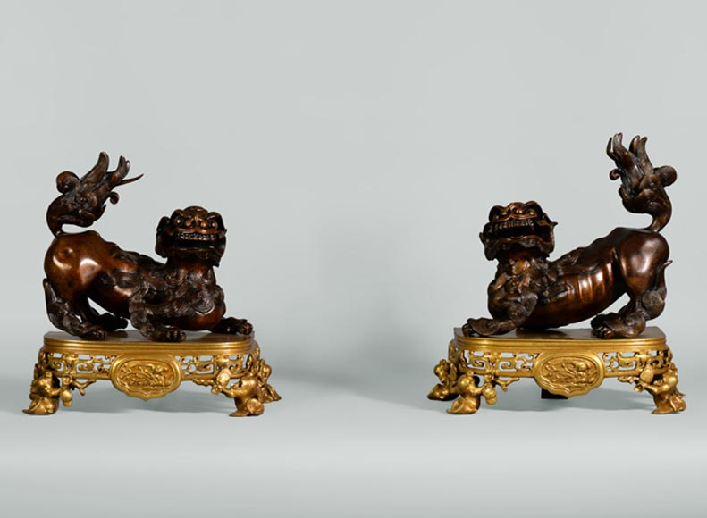 Beautiful antique pair of andirons with Foo dogs, gilt bronze and brown patina bronze-0