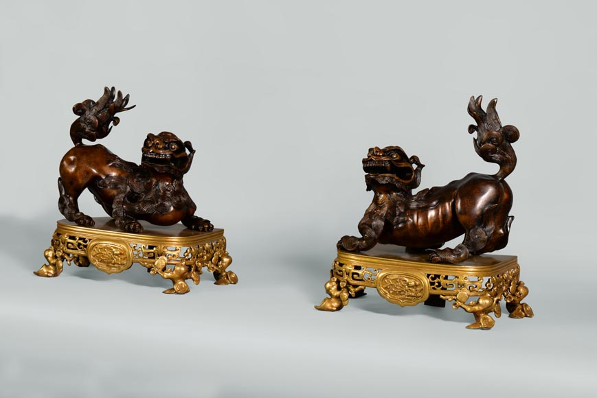 Beautiful antique pair of andirons with Foo dogs, gilt bronze and brown patina bronze-1