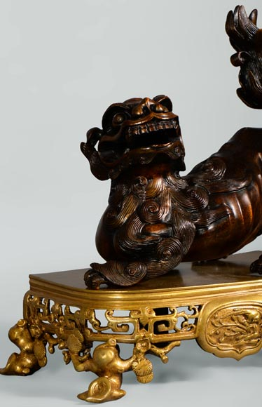 Beautiful antique pair of andirons with Foo dogs, gilt bronze and brown patina bronze-5