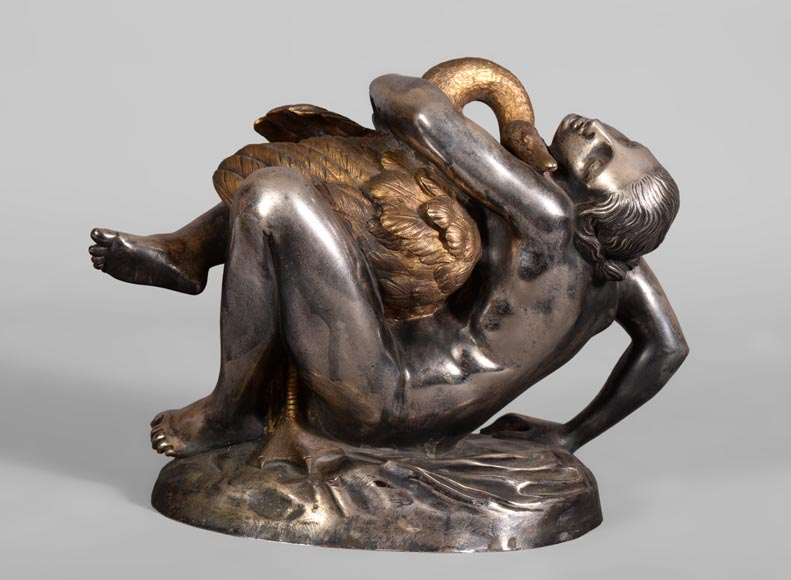 Jean-Jacques FEUCHÈRE (1807-1852) - Leda and the swan, gilt and silvered bronze-0