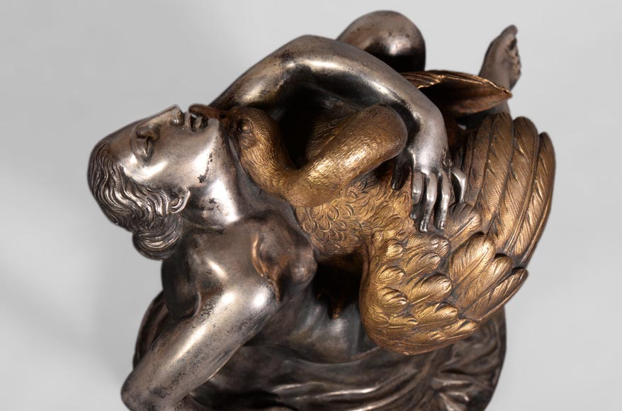 Jean-Jacques FEUCHÈRE (1807-1852) - Leda and the swan, gilt and silvered bronze-3