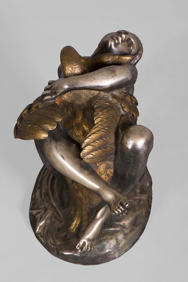 Jean-Jacques FEUCHÈRE (1807-1852) - Leda and the swan, gilt and silvered bronze-7