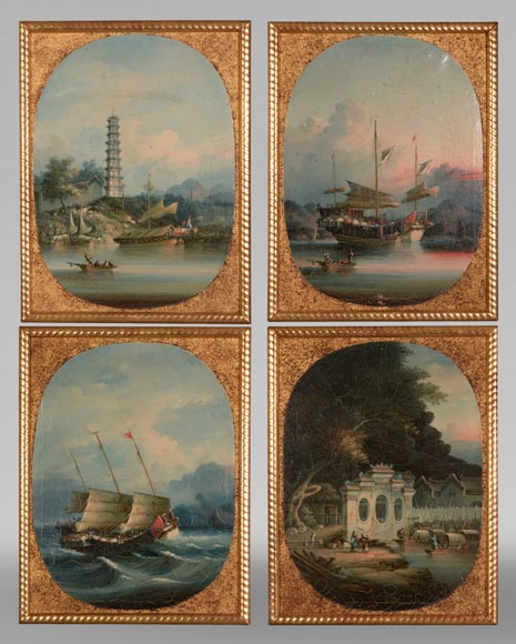 Nam Cheong (active 1845-1870) - Set of four oils on canvas representing Canton Views-0