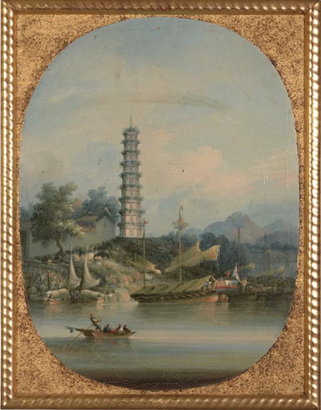 Nam Cheong (active 1845-1870) - Set of four oils on canvas representing Canton Views-1