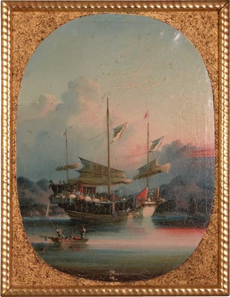 Nam Cheong (active 1845-1870) - Set of four oils on canvas representing Canton Views-3