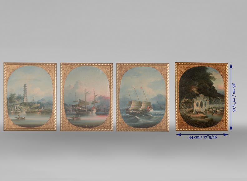 Nam Cheong (active 1845-1870) - Set of four oils on canvas representing Canton Views-12