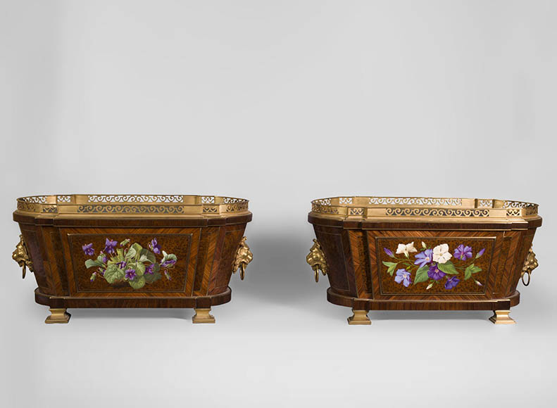 Julien-Nicolas RIVART (1802-1867) - Pair of planters with flowers bouquets decoration in porcelain marquetry - Reference 10691