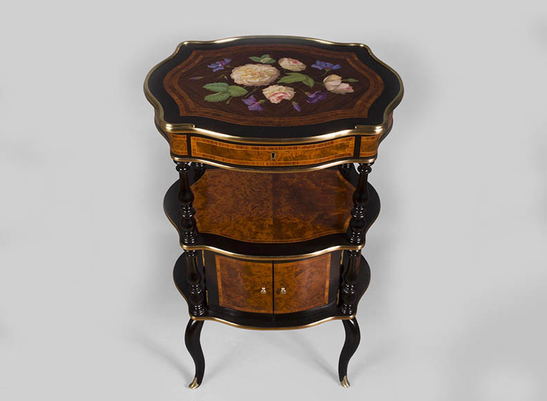 Julien-Nicolas RIVART (1802-1867) - Small occasional table with doors decorated of porcelain marquetry - Reference 10693