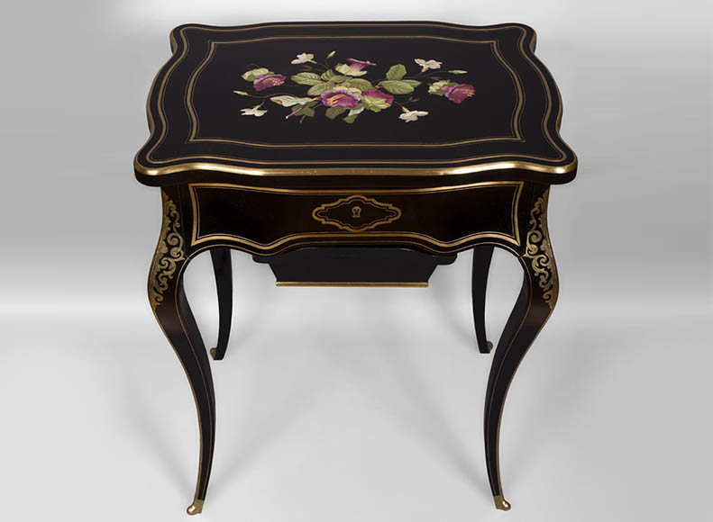 Julien-Nicolas RIVART (1802-1867) - Sewing table in blackened pearwood decorated of wild flowers in porcelain marquetry-0