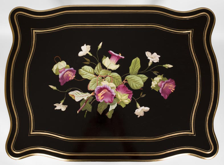 Julien-Nicolas RIVART (1802-1867) - Sewing table in blackened pearwood decorated of wild flowers in porcelain marquetry-2