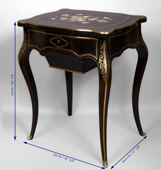 Julien-Nicolas RIVART (1802-1867) - Sewing table in blackened pearwood decorated of wild flowers in porcelain marquetry-5