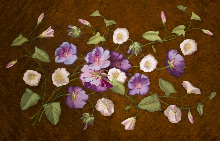 Julien-Nicolas RIVART (1802-1867) - Sewing table decorated of white and purple campanulas in porcelain marquetry-2