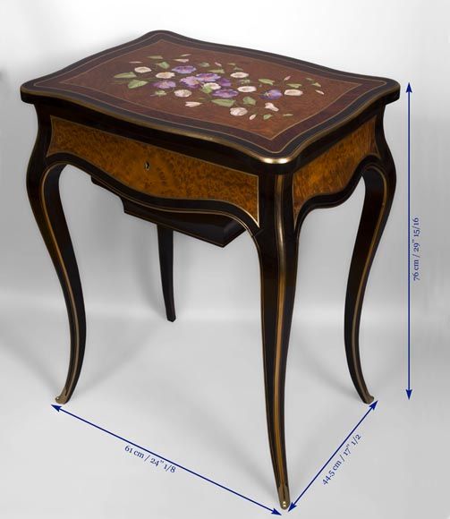 Julien-Nicolas RIVART (1802-1867) - Sewing table decorated of white and purple campanulas in porcelain marquetry-5